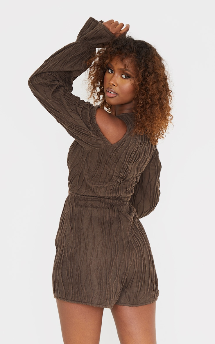 Chocolate Crinkle Ruched Cold Shoulder Playsuit 2