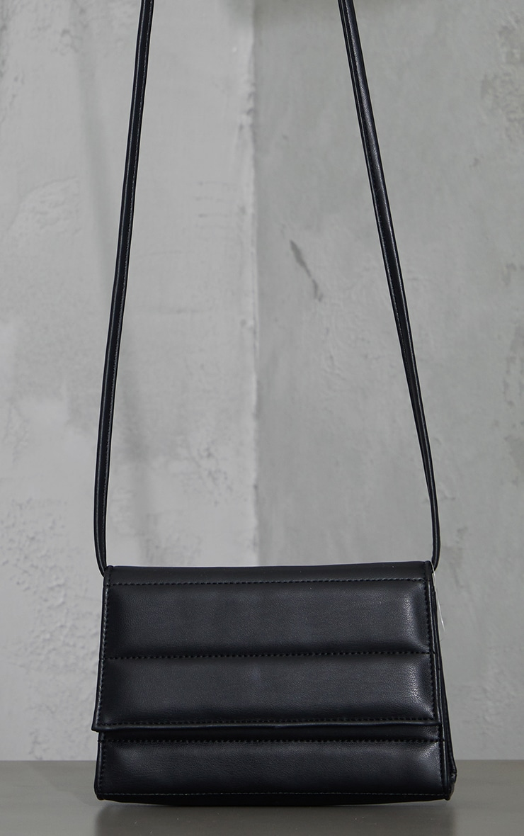 Black Square Quilted Panel Cross Body Bag 1