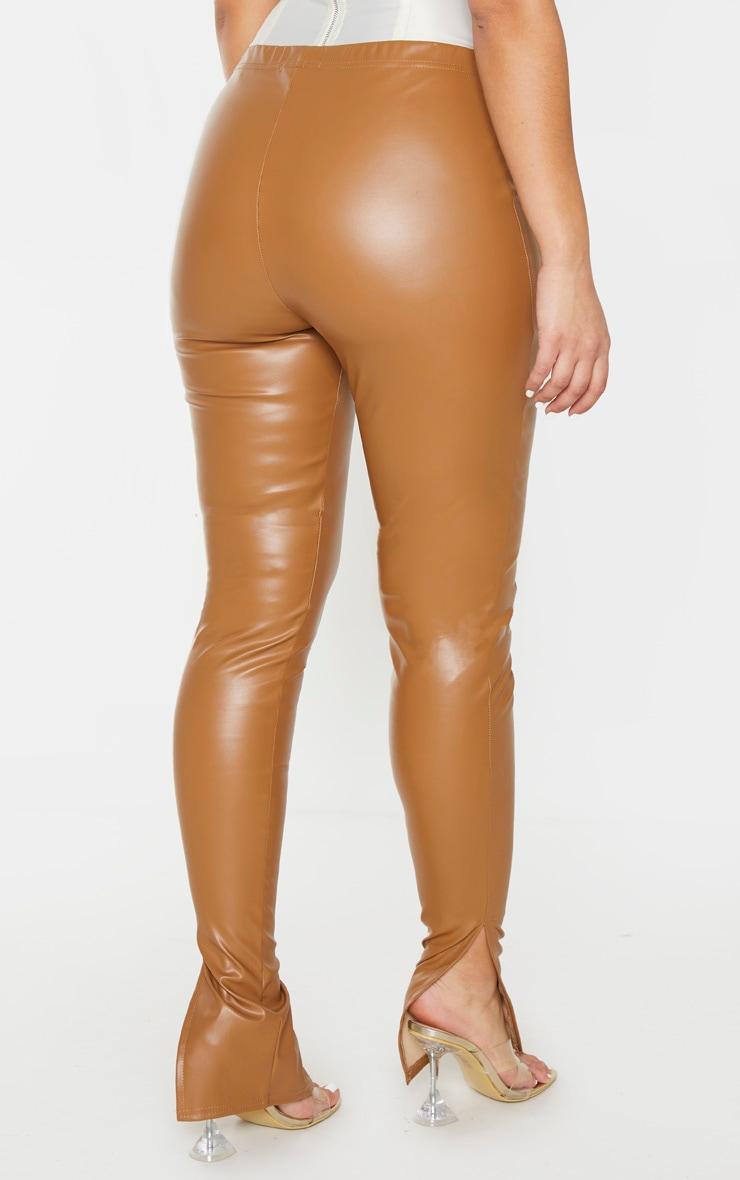 Tan Faux Leather Split Hem Pants 3