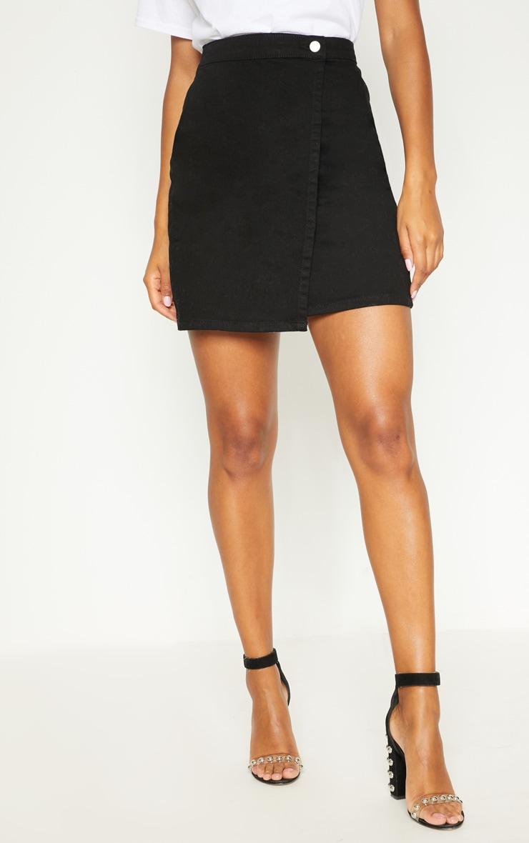 Black Denim Wrap Mini Skirt 2