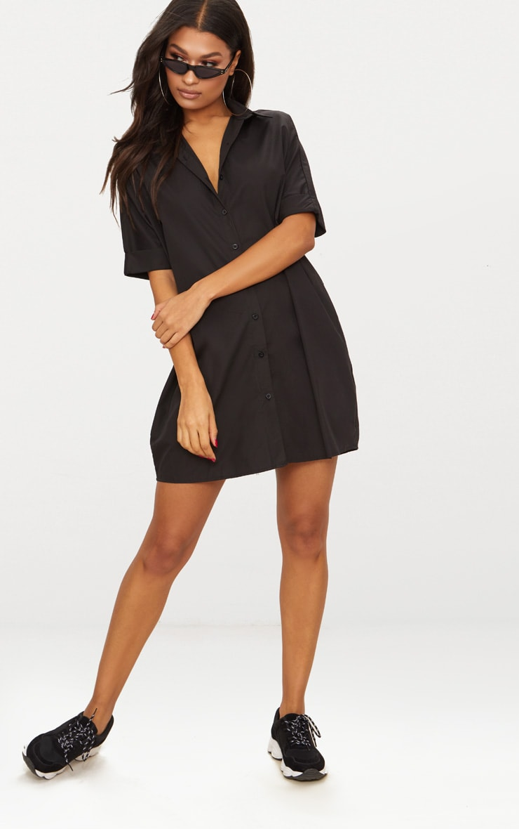 Black Oversized Short Sleeve Shirt Dress 4