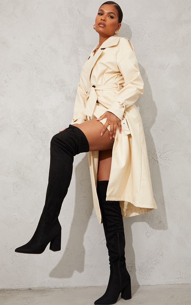 Black Wide Fit Point Toe Over The Knee Boots 1