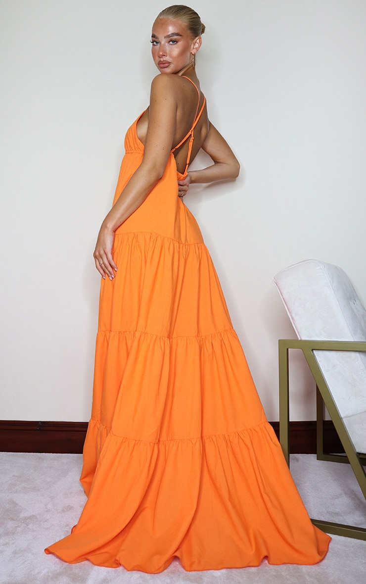 Orange Woven Tiered Smock Maxi Dress 3