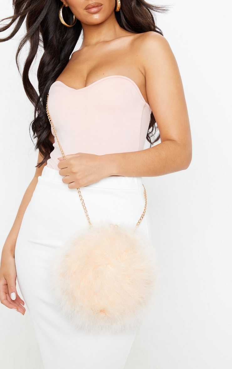 Nude Pink Marabou Feather Cross Body Bag 1