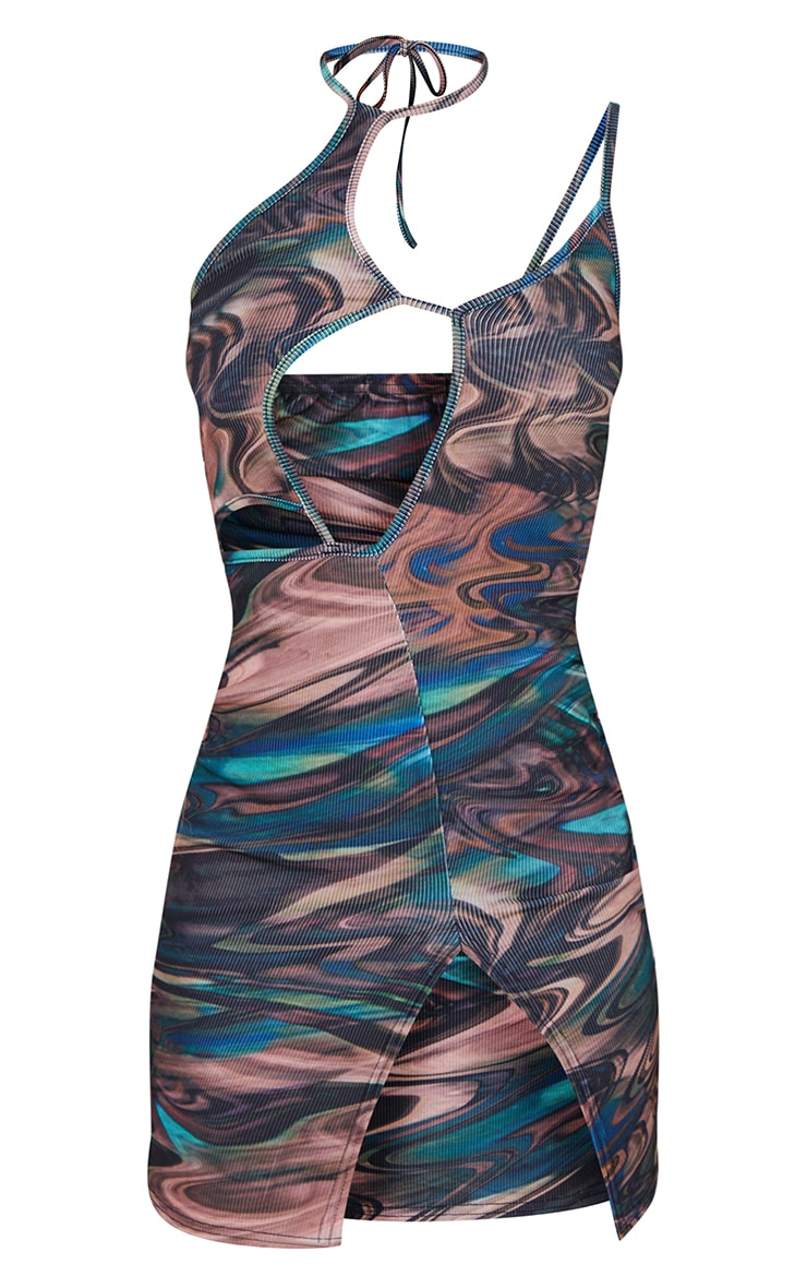 Green Swirl Print Ribbed Cut Out Strappy Halterneck Bodycon Dress 5