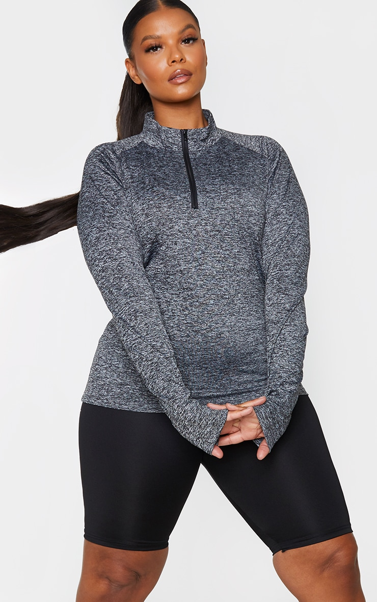 Plus Black Speckle Long Sleeve Zip Up Sports Top 1