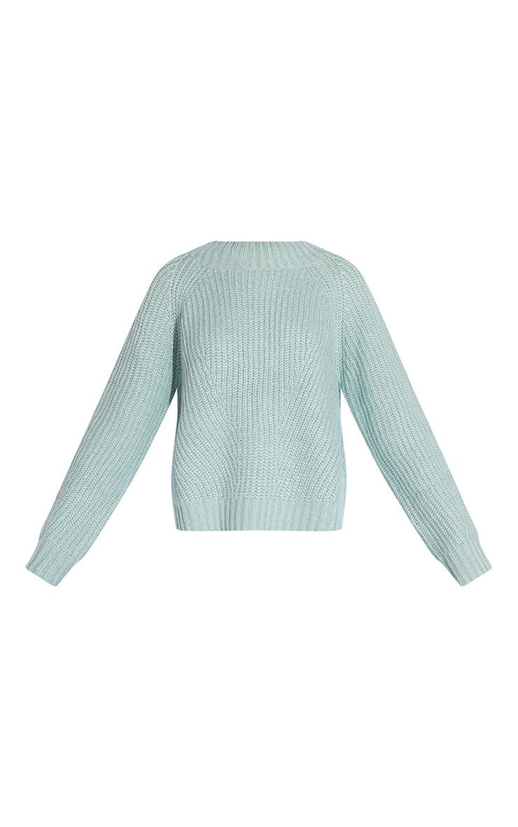 Mint Soft Knit Balloon Sleeve Funnel Neck Sweater 5