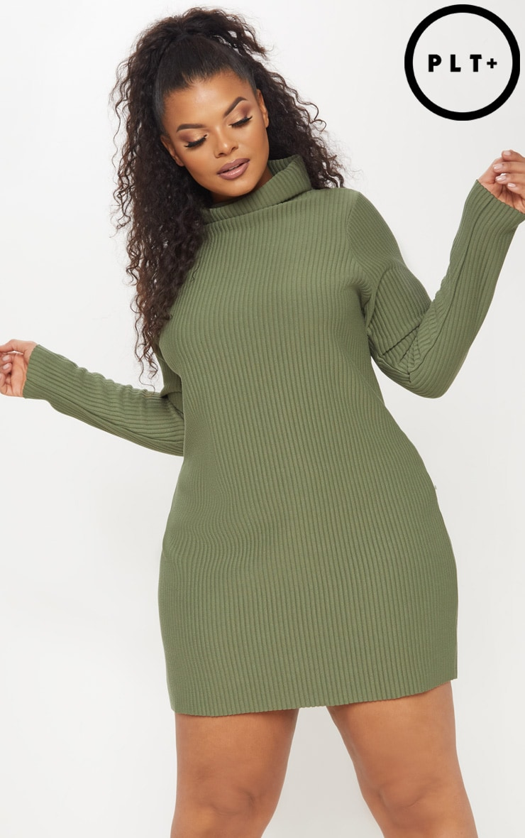 e9dafd0739e3 Plus Khaki Jumbo Rib High Neck Sweater Dress image 1