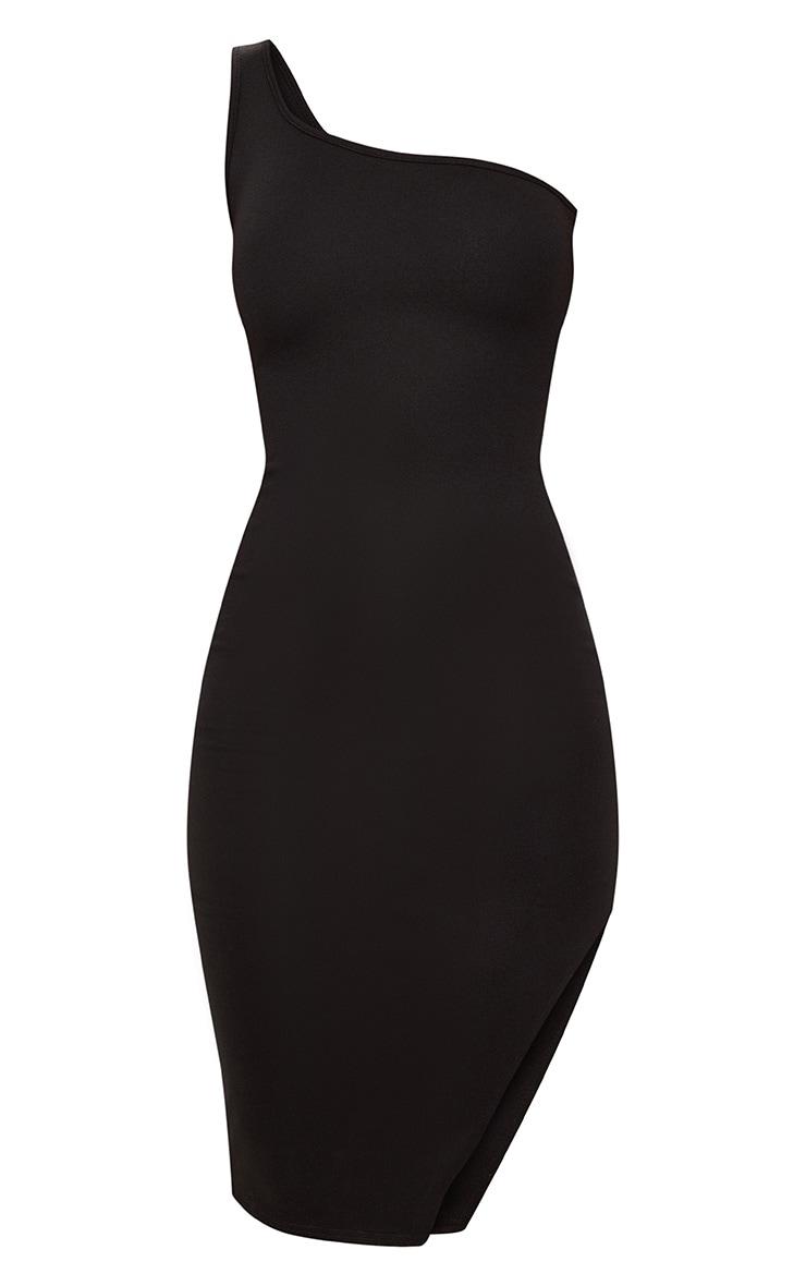 Black One Shoulder Midi Dress 3
