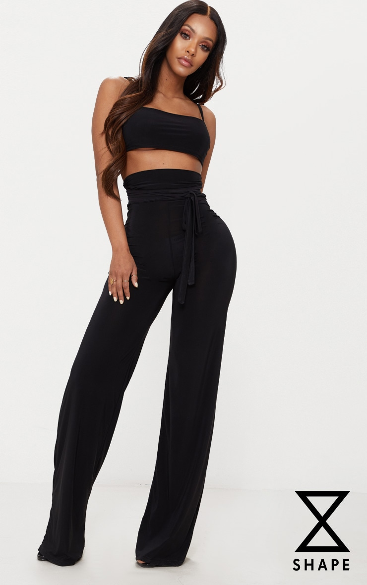 Shape Black Slinky Extreme High Waist Detail Wide Leg Trousers 1
