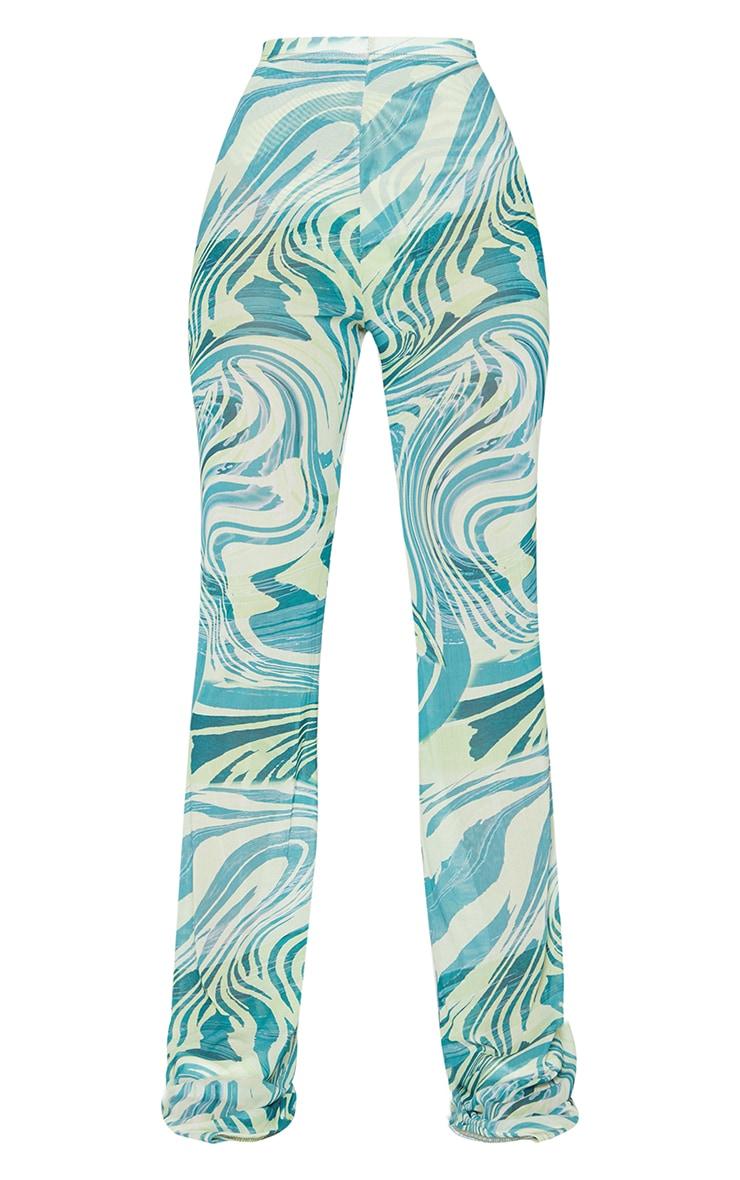 Petite Khaki Tiger Print Mesh Skinny Fit Flared Pants 5
