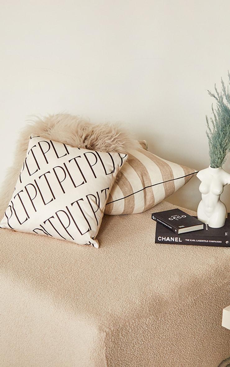 PRETTYLITTLETHING Cream Monogram Filled Cushion 1