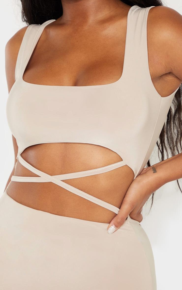 Shape Stone  Slinky Cut Out Cross Over Midi Dress 4