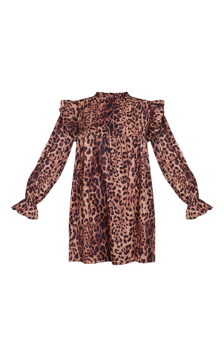 Brown Leopard Print Ruffle Binding Detail Shirt Dress 5
