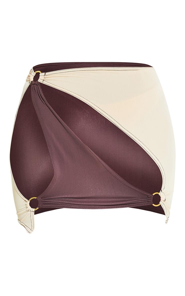 Chocolate Cut Out Ring Detail Mini Beach Skirt 9