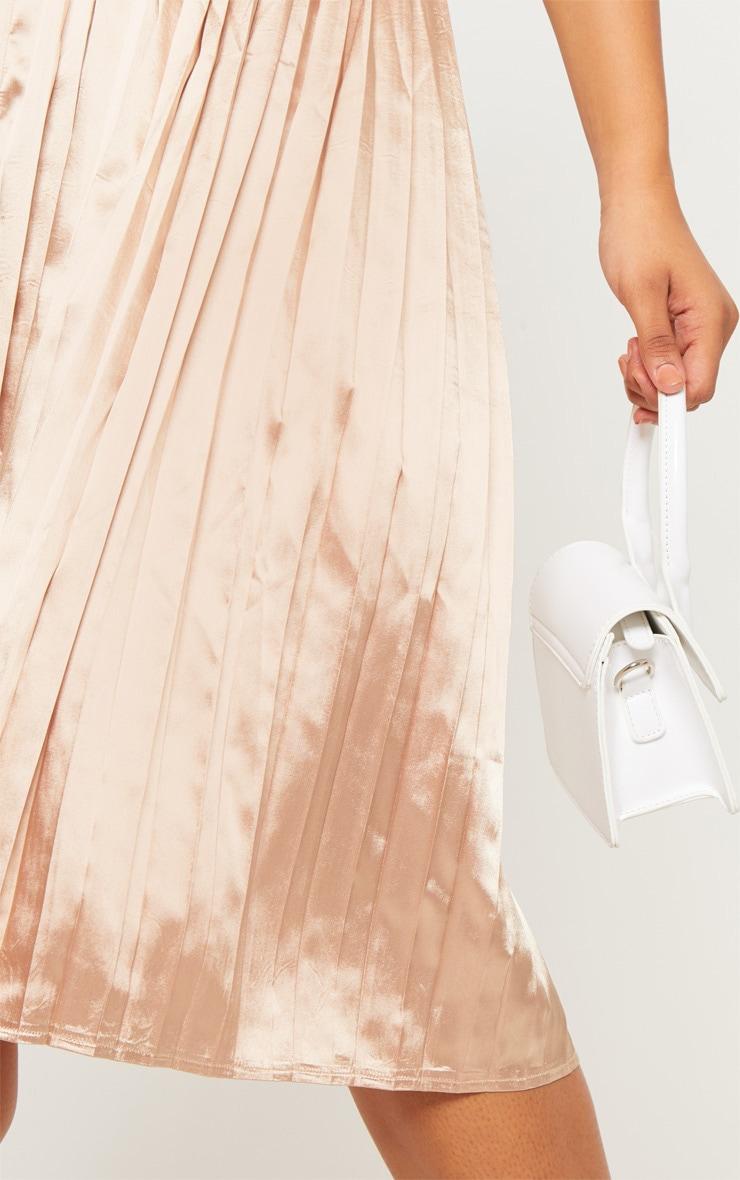 Tall Champagne Satin Pleated Midi Skirt  5