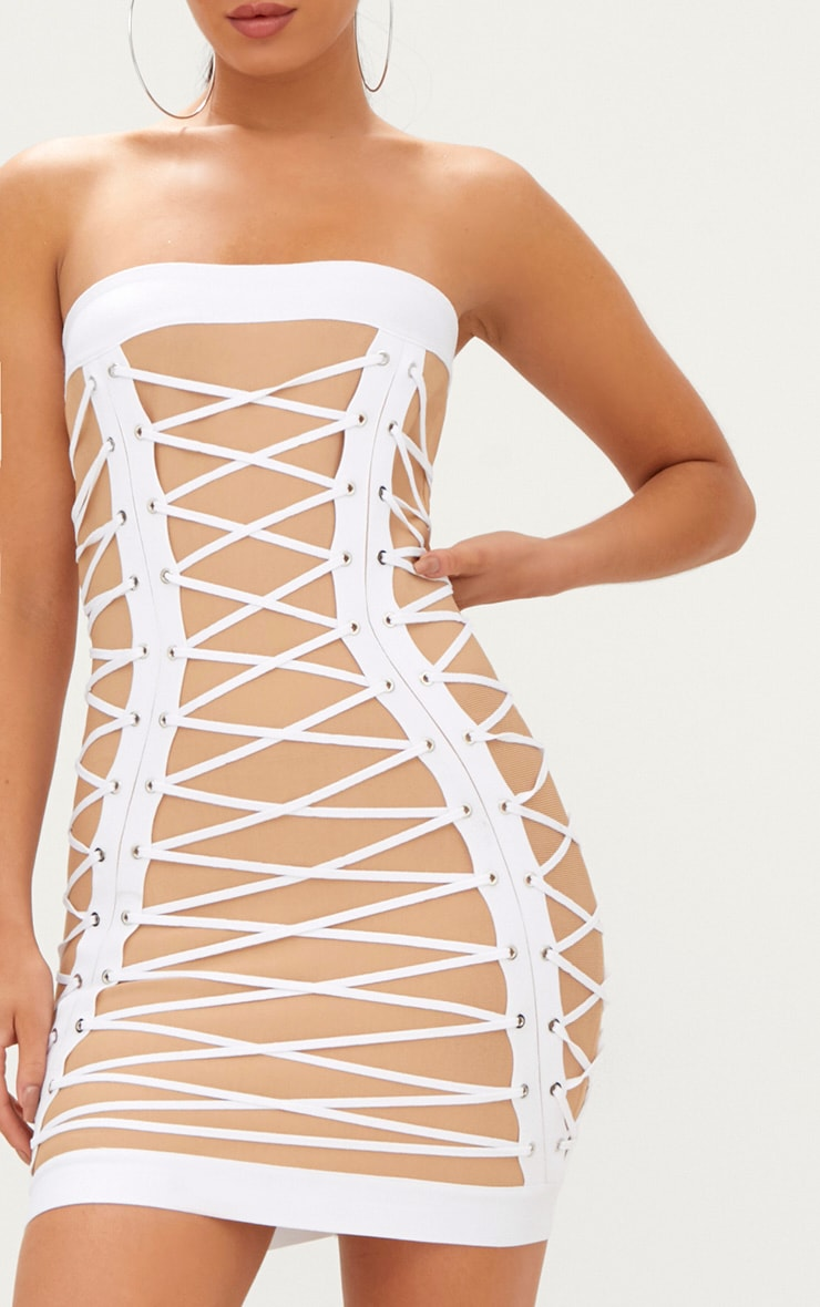White Bandage Eyelet Lace Up Bandeau Bodycon Dress  5