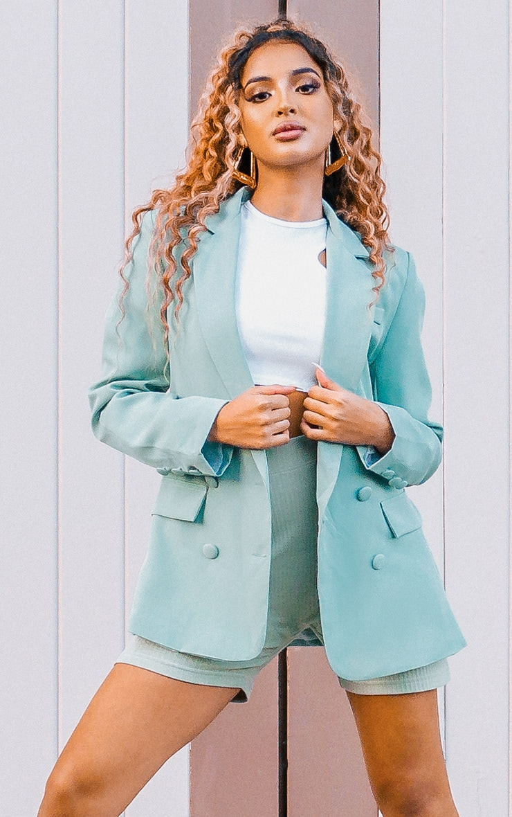 Sage Double Breasted Pocket Detail Woven Blazer 5