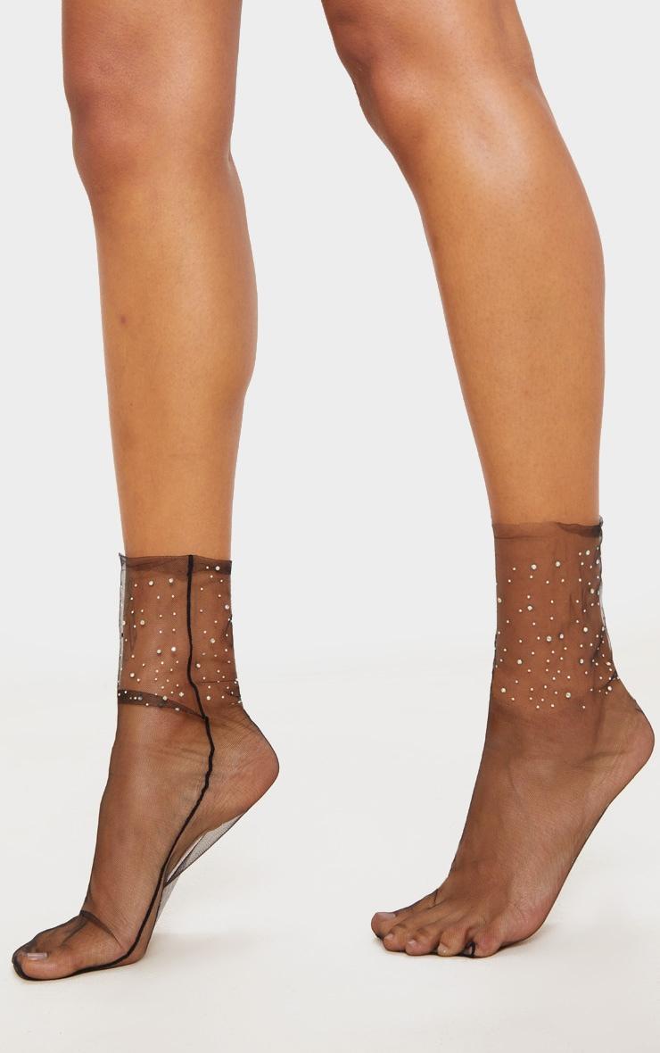 Black Diamante Embellished Socks 2