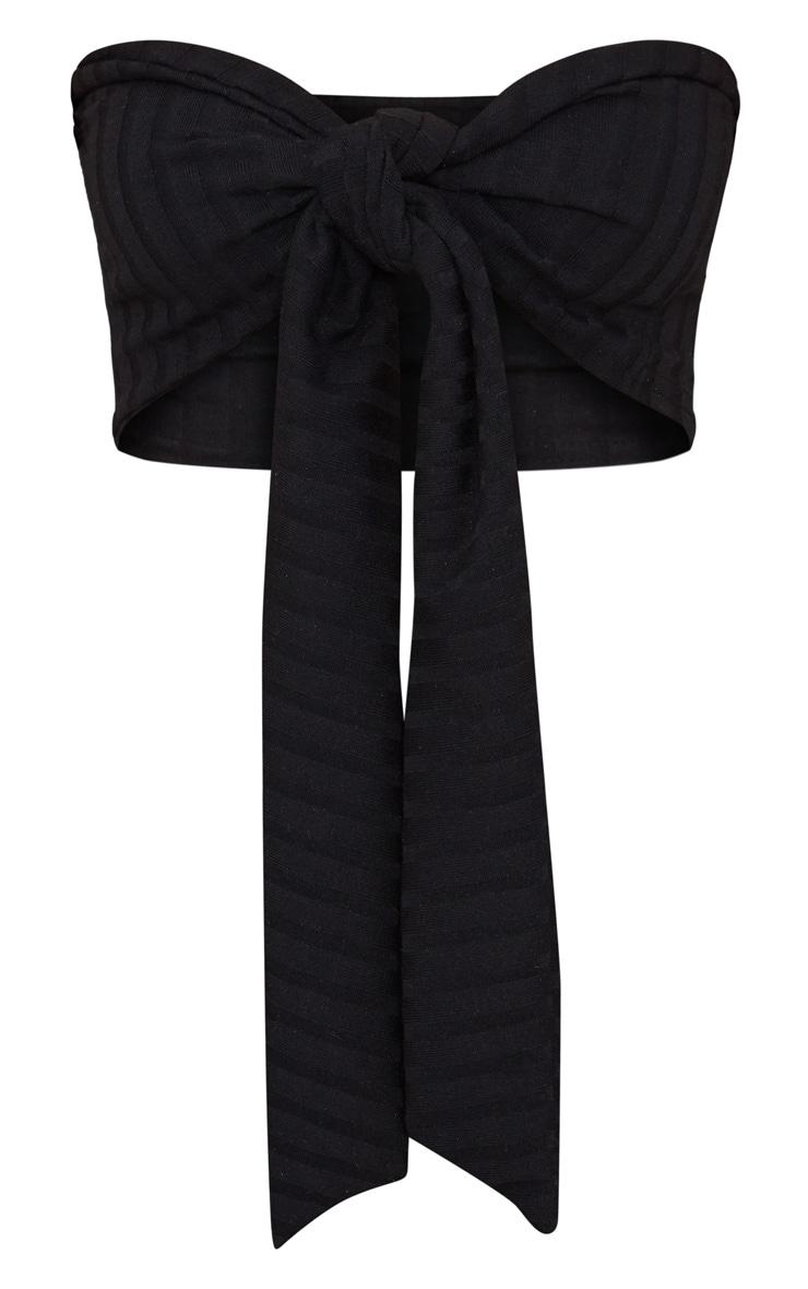 Petite Black Ribbed Tie Front Bandeau Crop Top 3