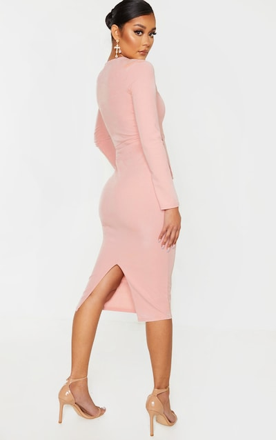 Dusty Pink Long Sleeve Wrap Waist Midi Dress