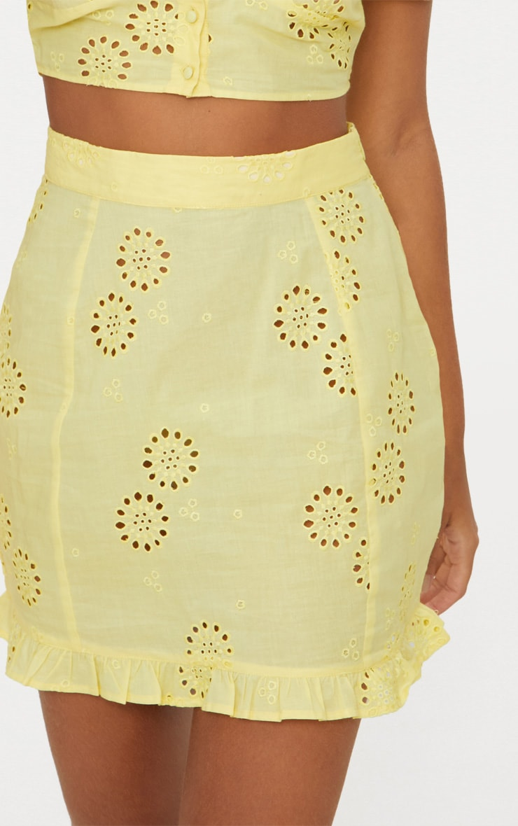 Lemon Embroidered Frill Hem Mini Skirt 5