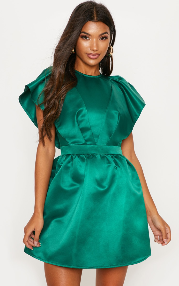 Emerald Green Satin Ruffle Sleeve Skater Dress 4