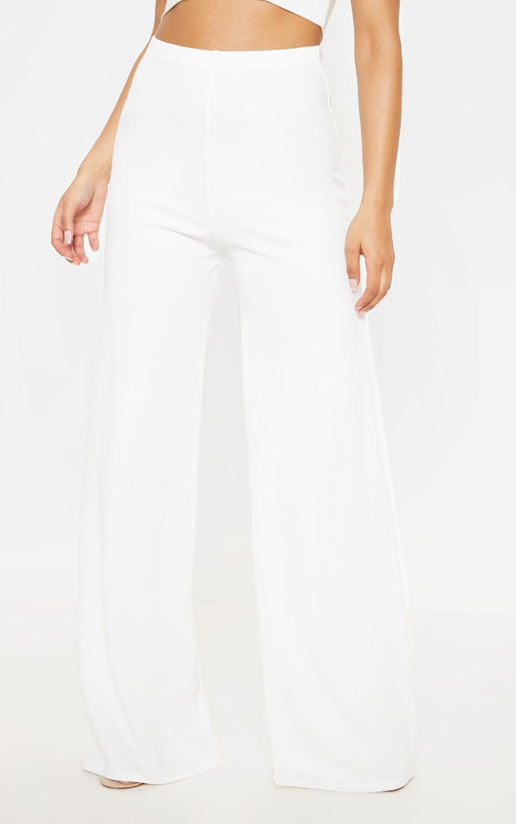 White High Waisted Wide Leg Pants  2