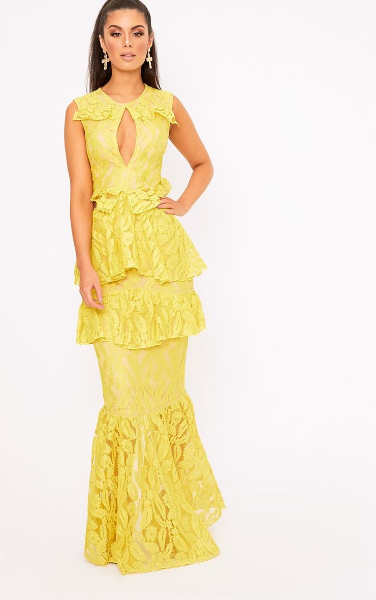 Katelyn Yellow Lace Ruffle Detail Maxi Dress  1