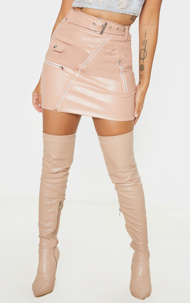 Petite Taupe Faux Leather Biker Belted Mini Skirt 2