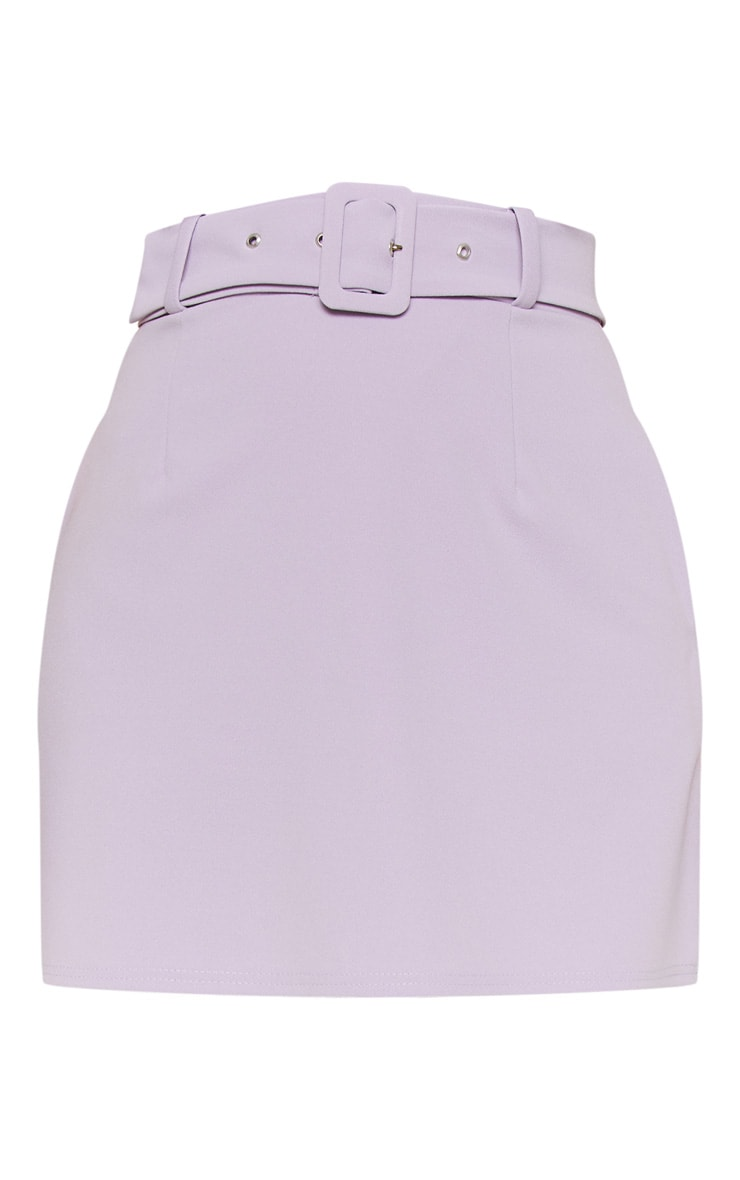 Lilac Belted A Line Mini Skirt  3