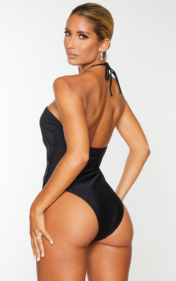 Black Scoop Neck Ruched Swimsuit 2