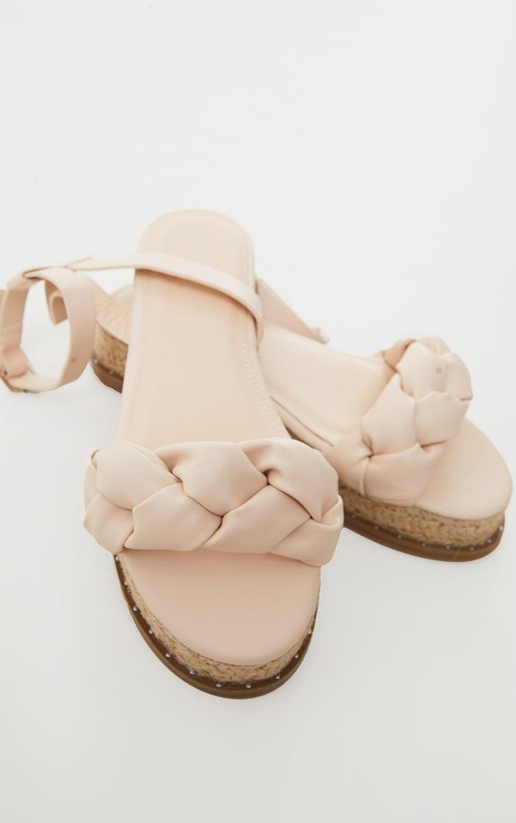 Sandales style espadrilles en similicuir nude à bride tressée 3