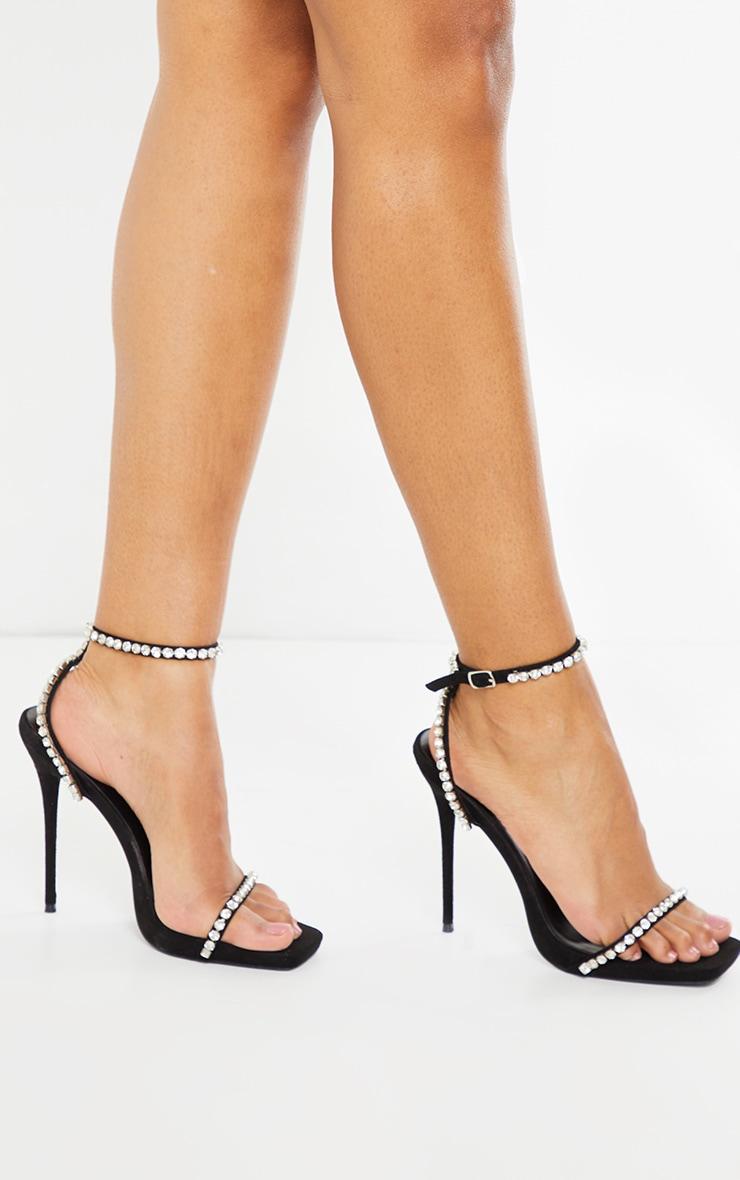 Black Faux Suede Diamante Strappy High Heels 2