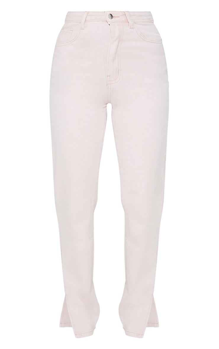 Washed Pink Split Hem Jeans 5