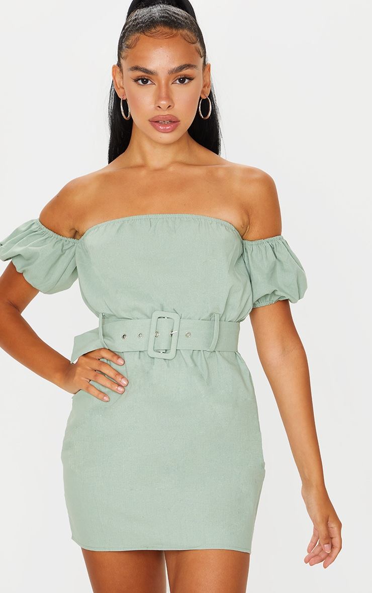 Sage Green Belt Detail Bardot Shift Dress 3