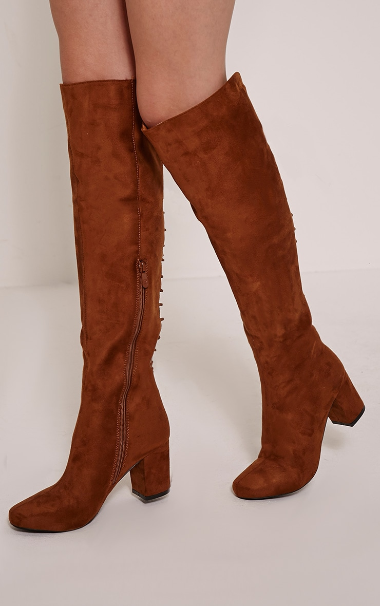Sharan Tan Faux Suede Laced Up Boots 1