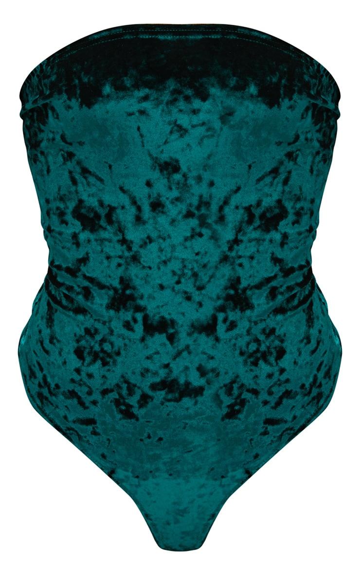 Emerald Crushed Velvet Bandeau Thong Bodysuit 3