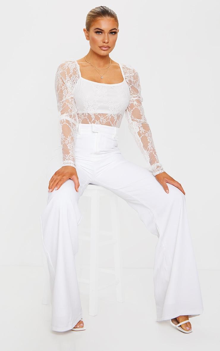 Cream Lace Puff Sleeve Square Neck Bodysuit 3