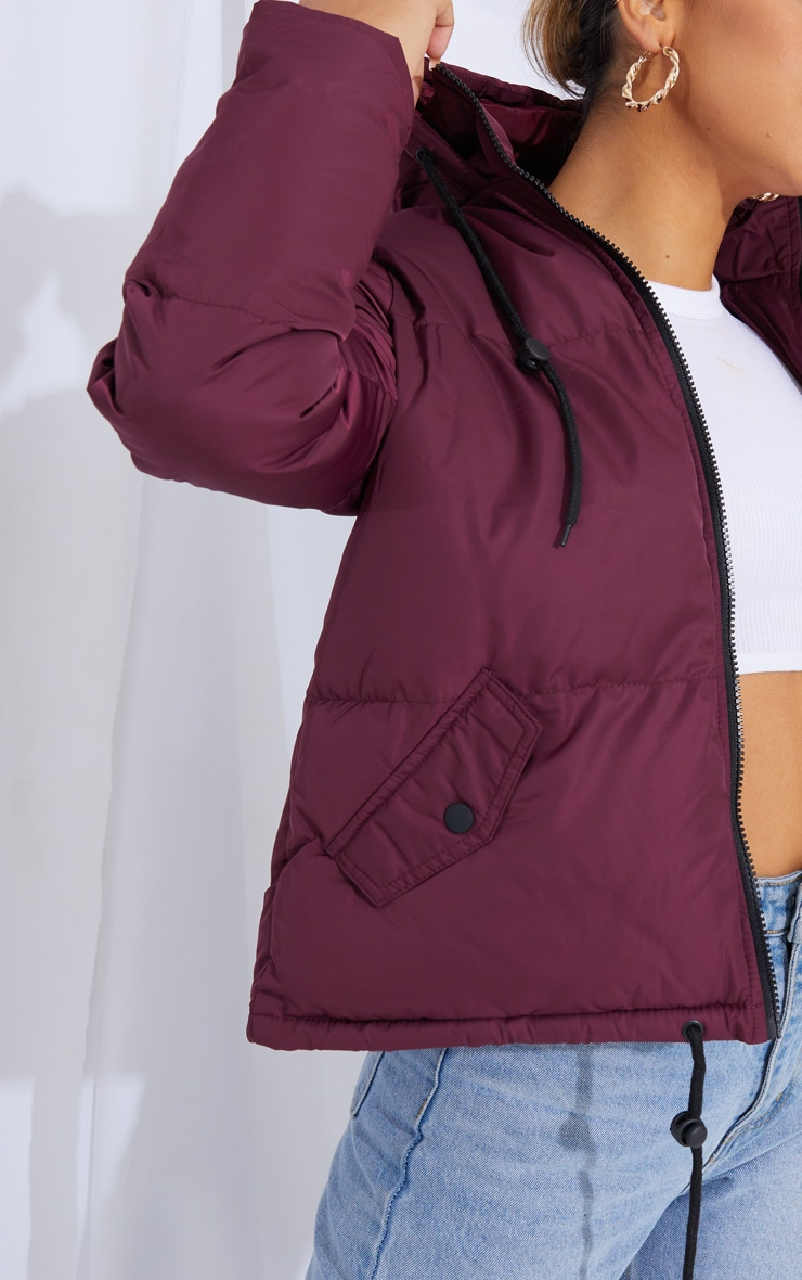 Burgundy Hooded Drawcord Hem Puffer Jacket 4