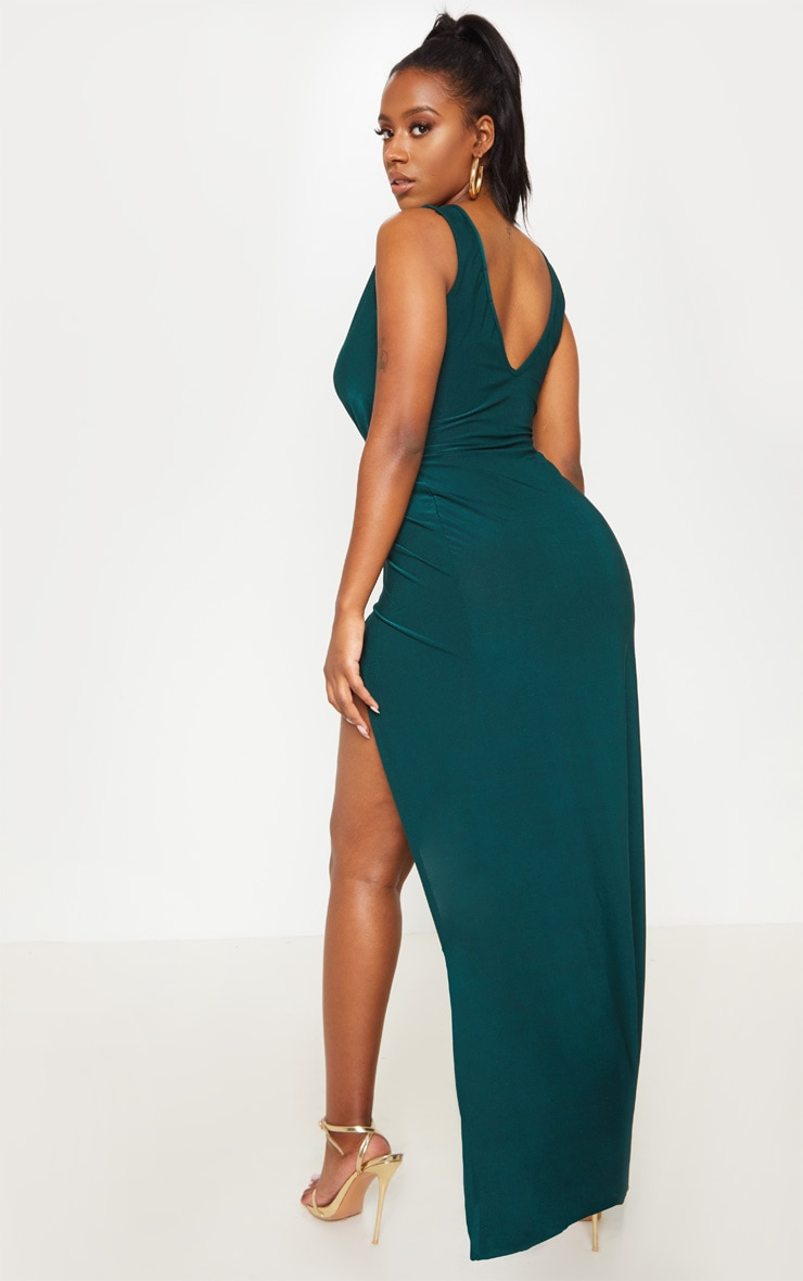 Shape Emerald Green Slinky Wrap Detail Maxi Dress 2