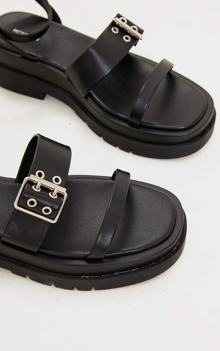 Black PU Buckle Detail Strappy Chunky Sole Sandals 4