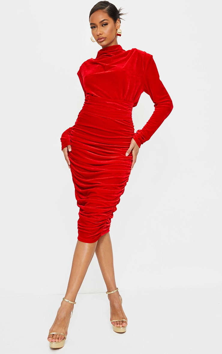 Red Velvet High Neck Draped Detail Midi Dress 1