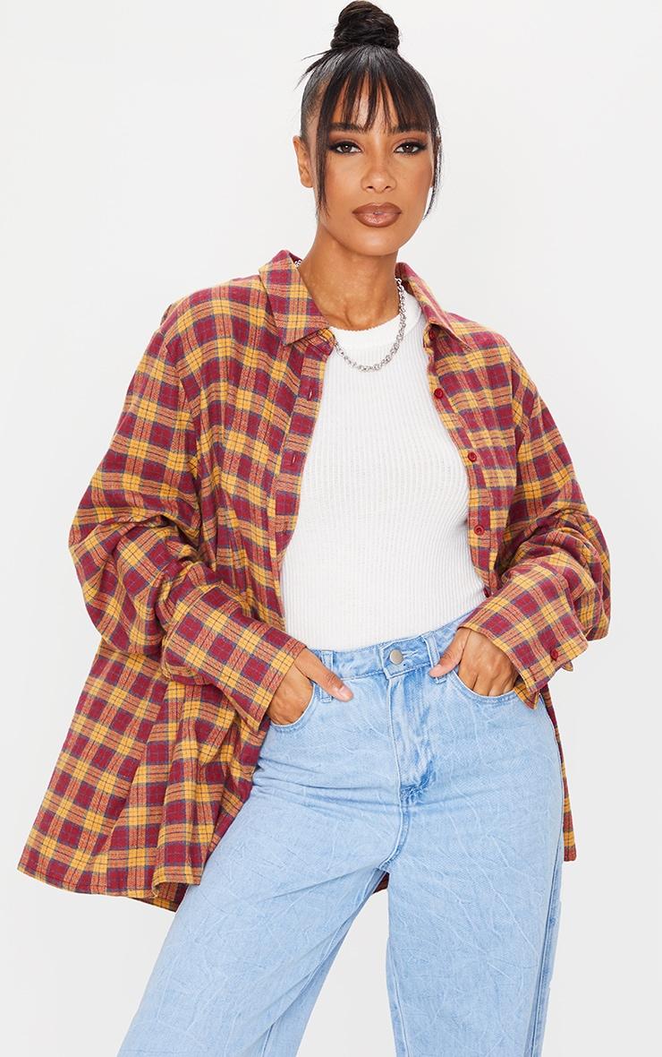 Wine Tartan Checked Flannel Pocket Detail Oversized Shirt 1
