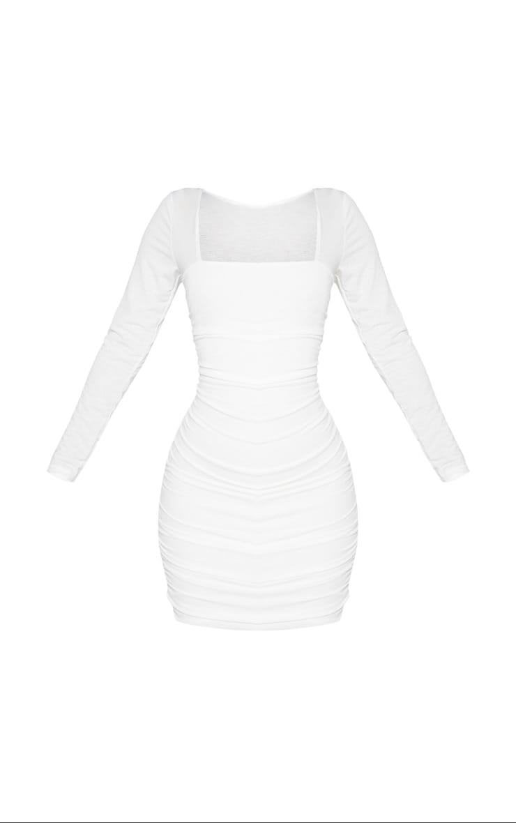 Shape White Ruched Square Neck Bodycon Dress 6