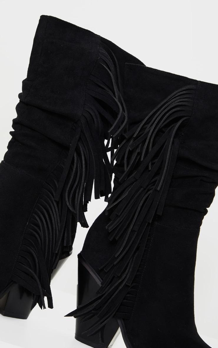 Black Fringe Western Heel Ankle Boots 4