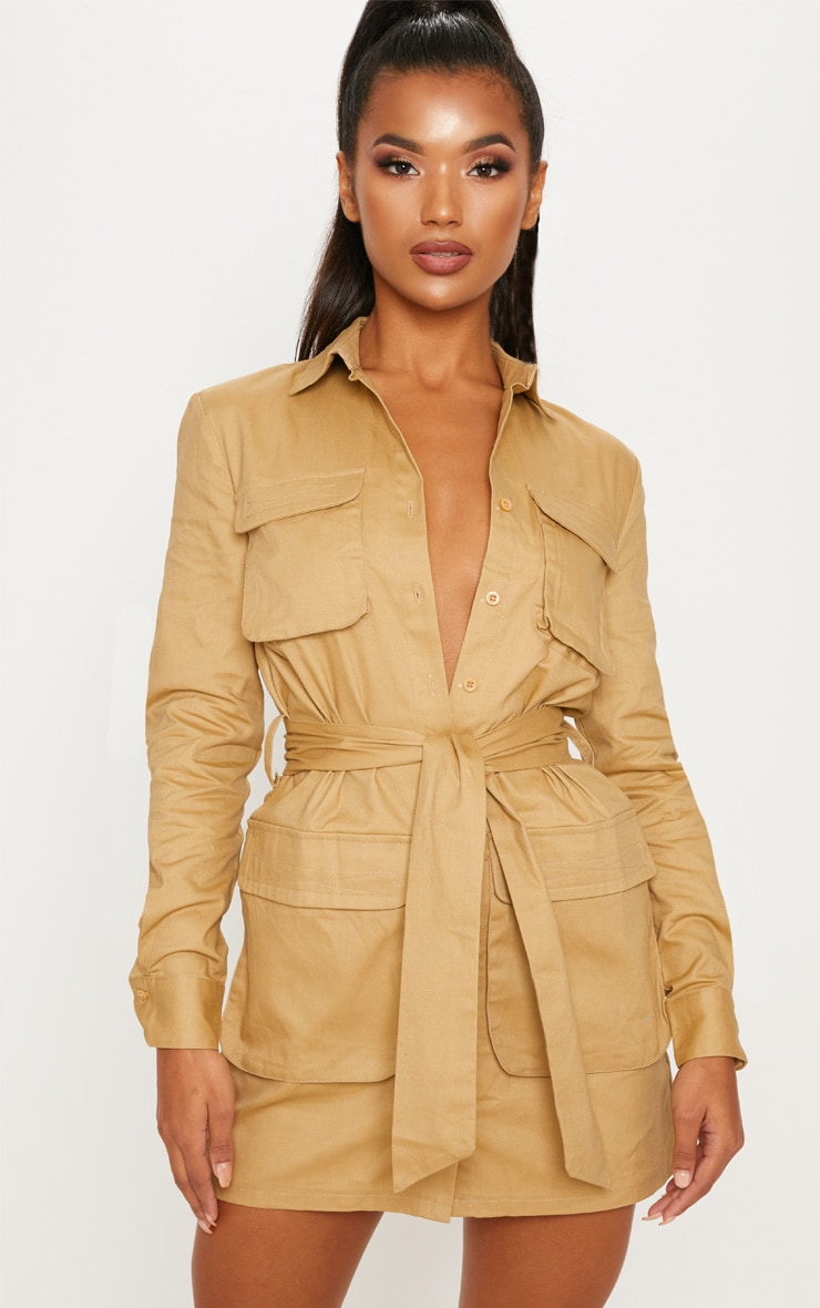 Camel Utility Tie Waist Shirt Dress