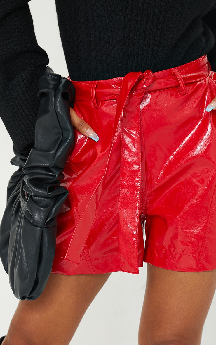 Red Vinyl Belted Shorts 5