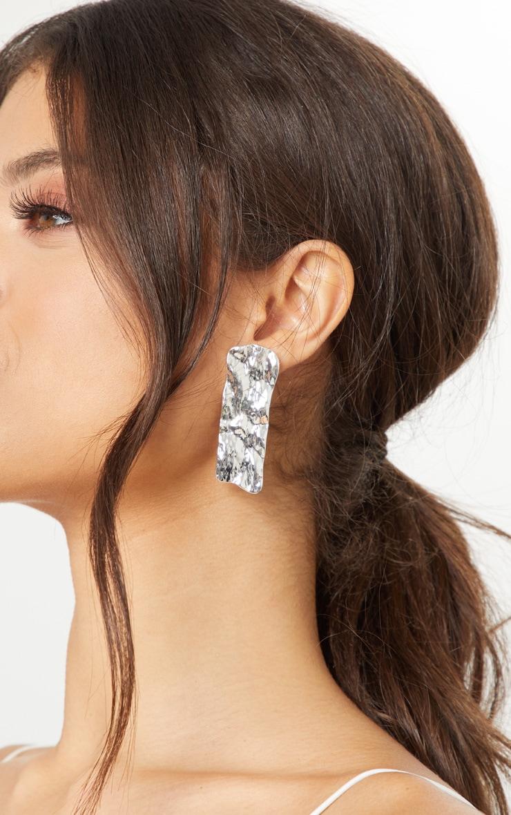 Silver Hammered Rectangular Stud Earrings