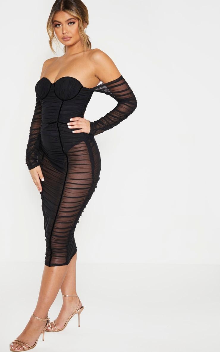 Black Mesh Ruched Velvet Binded Bardot Midi Dress 4